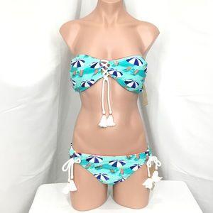 Hobie Beach Scene Lace-Up Bandeau Bikini